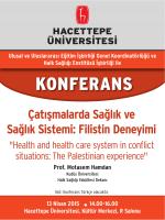 Çatışmalarda Sağlık ve Sağlık Sistemi: Filistin Deneyimi