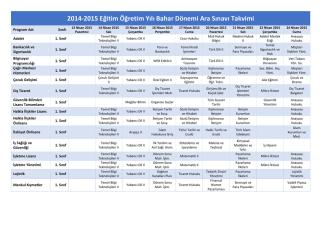 2014-2015 Eğitim Öğretim Yılı Bahar Dönemi Ara Sınavı Takvimi
