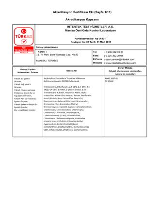 Akreditasyon Sertifikası Eki (Sayfa 1/11) Akreditasyon Kapsamı