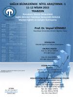 Sağlık Bilimlerinde Nitel Araştırma-1 11-12 Nisan 2015