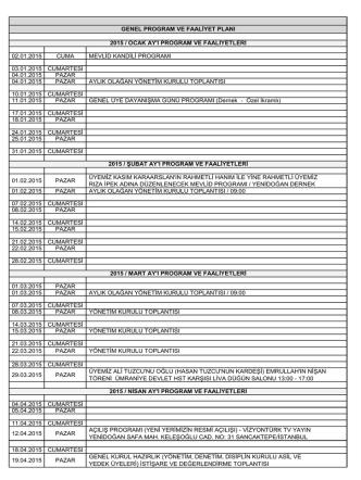 02.01.2015 cuma mevlid kandili programı 03.01.2015 cumartesi