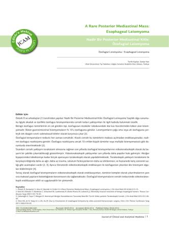 A Rare Posterior Mediastinal Mass: Esophageal Leiomyoma