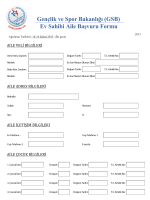 Gençlik ve Spor Bakanlığı (GSB) Ev Sahibi Aile Başvuru Formu