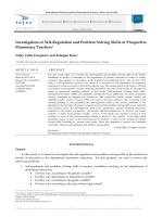 Investigation of Self-Regulation and Problem Solving Skills of
