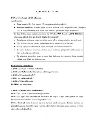 1 KULLANMA TALİMATI DOXAFİN 2.5 mg/5 ml 150 ml şurup