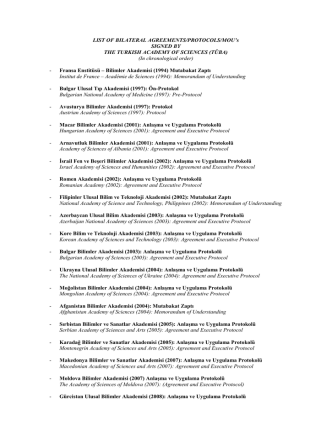 anlaşma ülkelerine - Türkiye Bilimler Akademisi