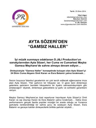 AYTA SOZERI BULTEN - GAMSIZ MEYHANE