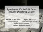 Açık Kaynak Kodlu Optik Sınav Kağıtları Depolama Sistemi Seminer