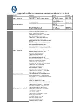 2014-2015 Anaokulu Hazırlık Grubu Öğrenci İhtiyaç Listesi