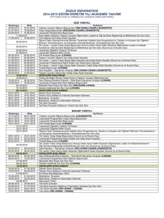 2014 - 2015 Akademik Takvimi - Düzce Üniversitesi Öğrenci İşleri
