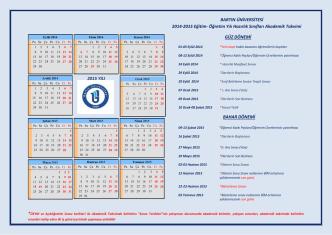 2014-2015 Öğretim Yılı Hazırlık Sınıfları Akademik Takvimi YENİ