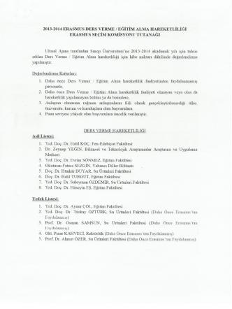 2013-2014 ERASMUS DERS vERME / ALMA
