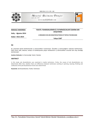 aDoç. Dr., Pamukkale Üniversitesi, Denizli Teknik Bilimler Meslek