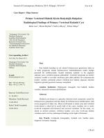 Primer Vertebral Hidatik Kistin Radyolojik Bulguları Radiological