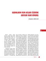 KADINLARIN RUH ACILARI ÜZERİNE (KEVSER RUHİ KİMDİR)