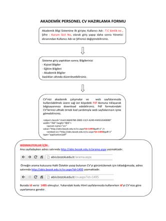 akademik personel cv hazırlama formu