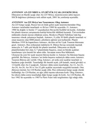 ANTONOV AN-225 MRIYA: EN BÜYÜK UÇAK (18 EKİM 2014