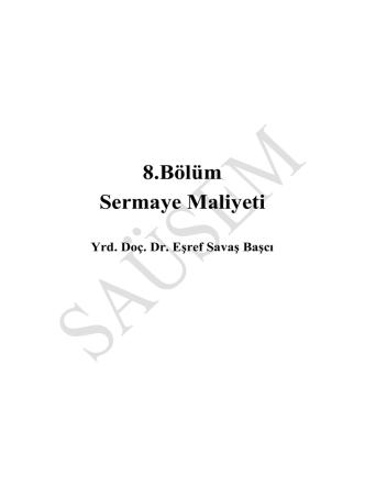8.Bölüm Sermaye Maliyeti - dt