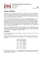 Game (Oıun) - IOI 2014 in Taiwan