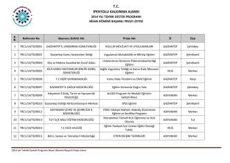2014 Yılı Teknik Destek Programı Nisan Dönemi Sonuçları