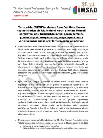 1 Türkiye İMSAD Ekonomi Değerlendirme Raporu/150