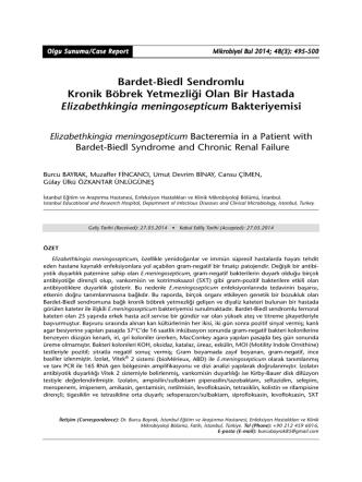 Bardet-Biedl Sendromlu Kronik Böbrek Yetmezliği Olan Bir Hastada