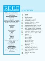 İçindekiler - Rıhle Dergisi