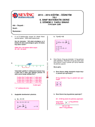 8. Sınıf deneme sınavı