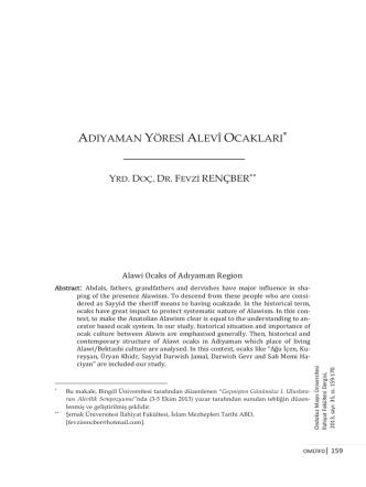 adıyaman yöresi alevî ocakları - OMÜ İlahiyat Fakültesi Dergisi