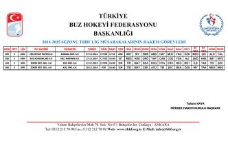 2014-2015 sezonu tbhf lig müsabakalarının hakem görevleri