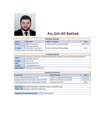 Arş.Gör.Ali Bakbak - Elektrik-Elektronik Mühendisliği Bölümü