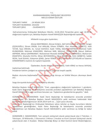 2014 yılı nisan ayı olağanüstü toplantı meclis karar özeti