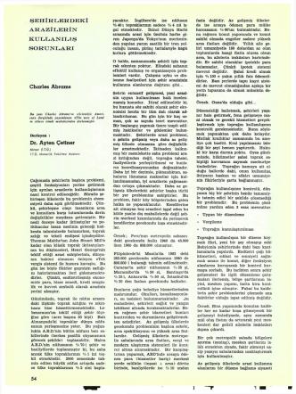 ARAZİLERİN KULLANILIŞ SORUNLARI Charles Abrams Dr. Ayten