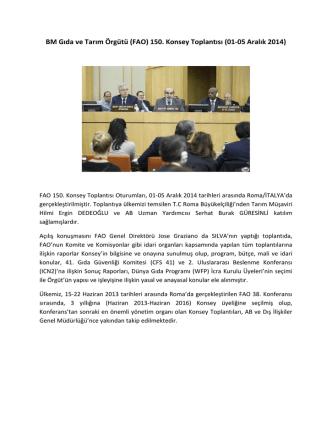 BM Gıda ve Tarım Örgütü (FAO) 150. Konsey Toplantısı (01-05