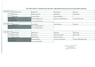 Aralık Ayı Tıbbi Sekreter Acil Kayıt ve Kadın Doğum Nöbet Listesi