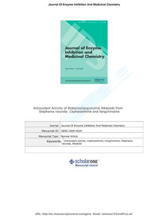 Antioxidant Activity of Bisbenzylisoquinoline Alkaloids from