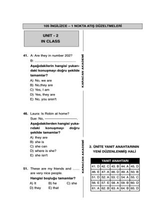 Aöf Nokta Atış 105-İngilizce Düzeltmeleri için tıklayınız