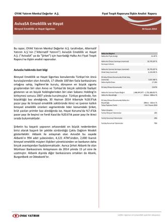 AvivaSA Fiyat Tespit Raporuna İlişkin Analist Raporu