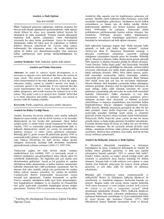 Atatürk halk eğitimi - Türk Dili Bölümü