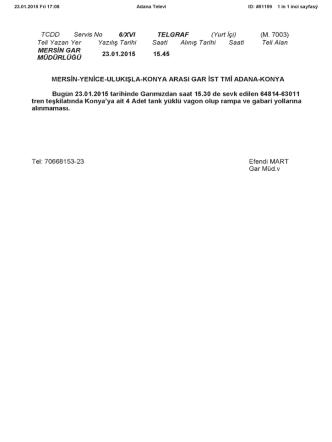 23.01.2015 - TCDD 6. Bölge