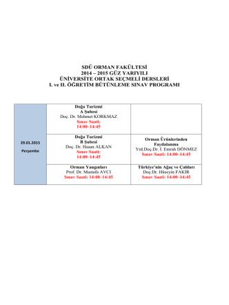 2014 – 2015 güz yarıyılı bütünleme sınav programı
