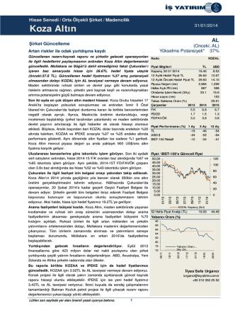31/01/2014 - İş Yatırım