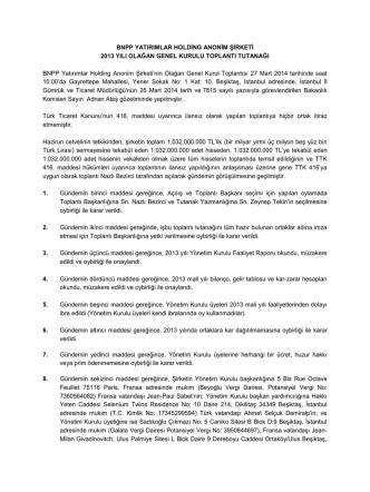 27 mart 2014 tarihinde yapılan olağan genel kurul toplantı tutanağı