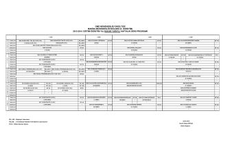 2013-2014 BAHAR Yarıyılı Haftalık Ders Programı (II. ÖĞRETİM)