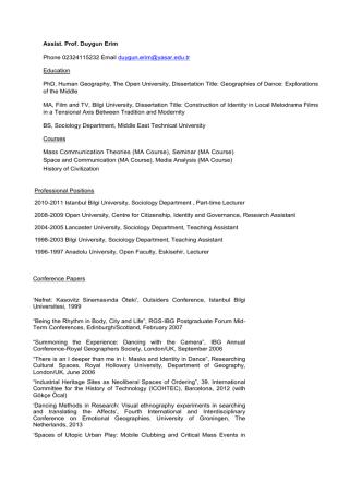 Assist. Prof. Duygun Erim Phone 02324115232 Email duygun.erim
