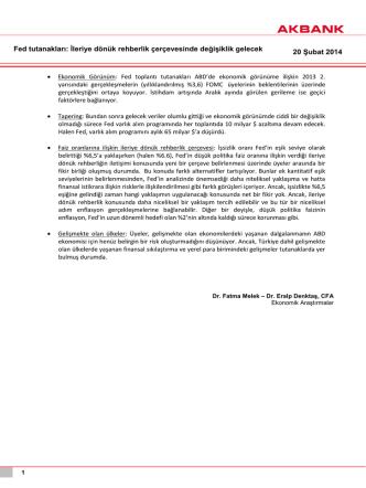 20 Şubat 2014 Fed tutanakları: İleriye dönük rehberlik çerçevesinde