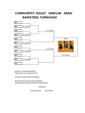 Cumhuriyet Koleji Sınıflar Arası Basketbol Turnuvası Kağıthane