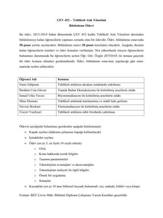 ÇEV 452 – Tehlikeli Atık Yönetimi Bütünleme Ödevi Bu ödev, 2013