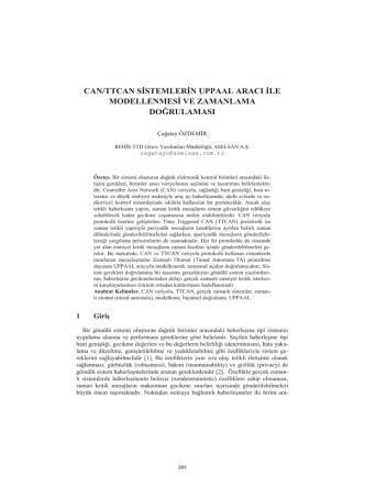 can/ttcan sistemlerin uppaal aracı ile modellenmesi - CEUR