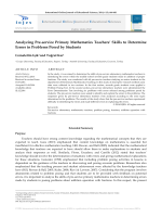 Analyzing Pre-service Primary Mathematics Teachers